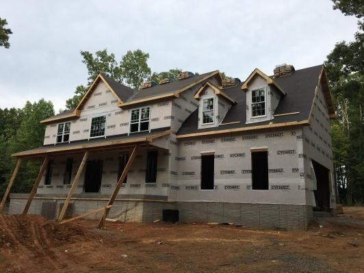 Waiting for columns and siding.